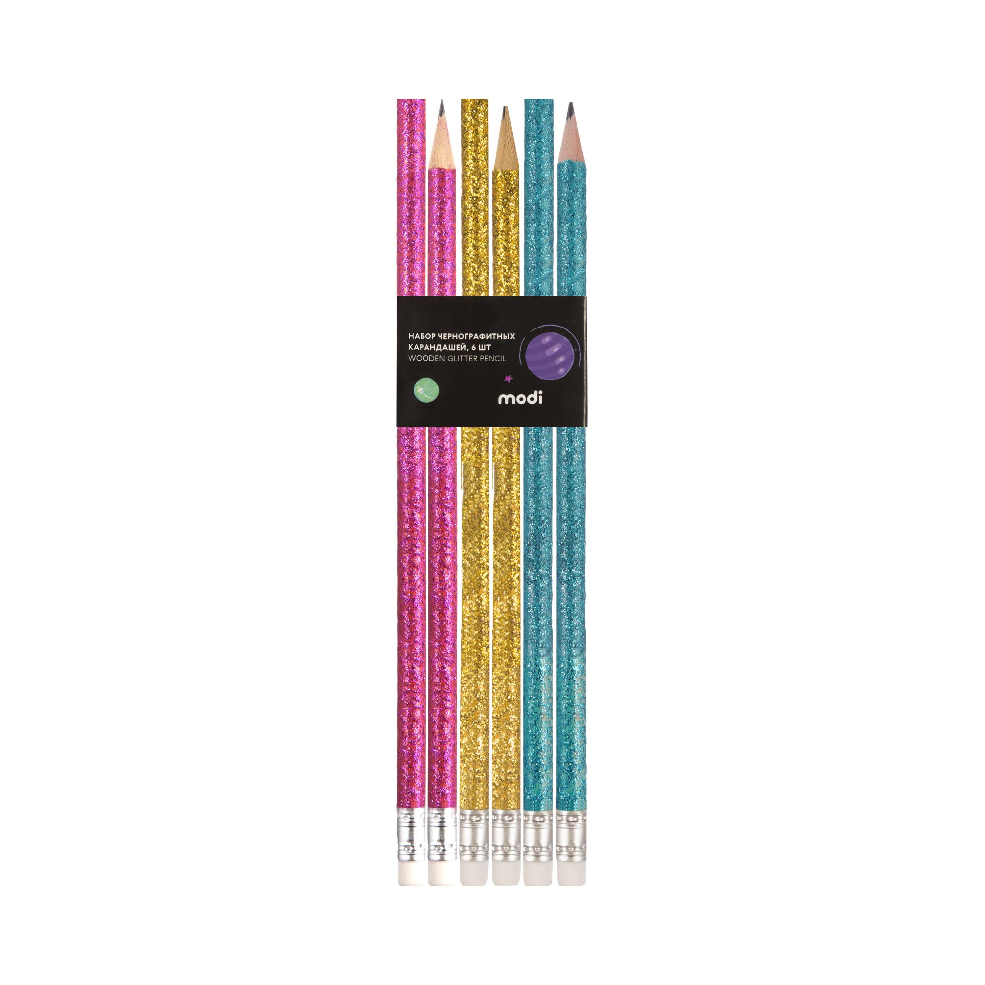 Набор чернографитных карандашей, 6шт набор карандашей чернографитных sivo 4шт нв с резинкой